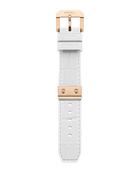 White-Rose Golden Rubber Strap, 22mm