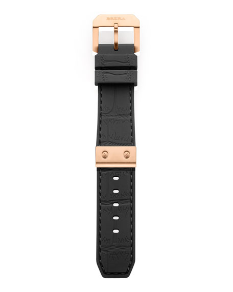 Black Rose Golden Rubber Strap, 22mm
