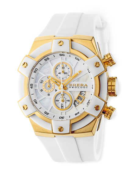 43mm Federica Watch, White and Gold