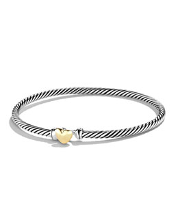 David Yurman Cable Collectibles Heart Bracelet, 3mm