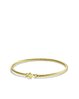 David Yurman Cable Collectibles Heart Bracelet in Gold
