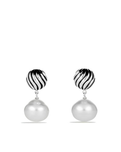 David Yurman DY Elements Drop Earrings with South Sea Pearls