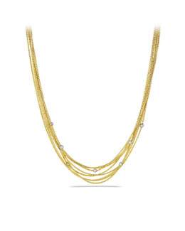 David Yurman Eight-Row Chain Necklace with Diamond Beads in Gold