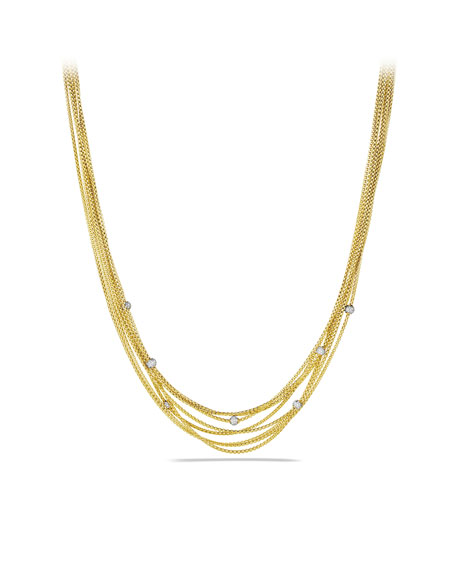 Eight-Row Chain Necklace with Diamond Beads in Gold