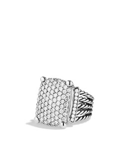 David Yurman Wheaton Ring, Pave Diamond, 20x15mm