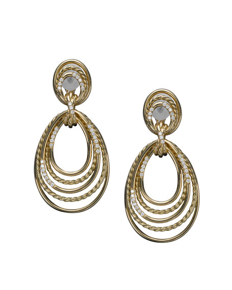 Wire Earrings, Pave Diamond