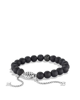 David Yurman Spiritual Beads Black Onyx Bracelet with Black Diamonds