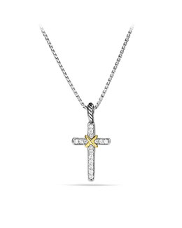 David Yurman Cable Collectibles X Cross with Diamonds and Gold on Chain