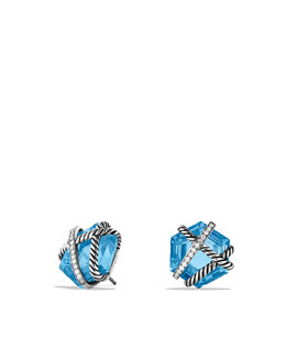 David Yurman Cable Wrap Earrings with Blue Topaz and Diamonds