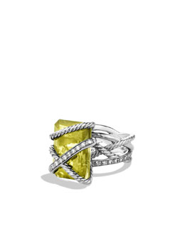 David Yurman Cable Wrap Ring with Lemon Citrine and Diamonds
