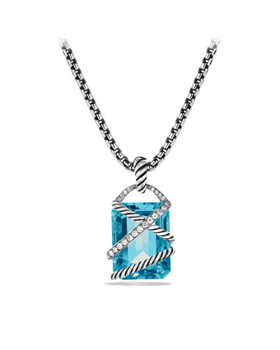 David Yurman Cable Wrap Pendant with Blue Topaz and Diamonds
