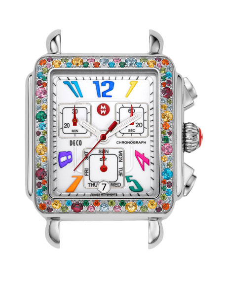 Deco Carousel Topaz-Bezel Watch Head
