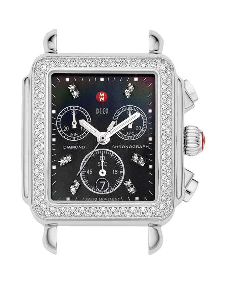 Deco Diamond Watch Head, Black/Steel