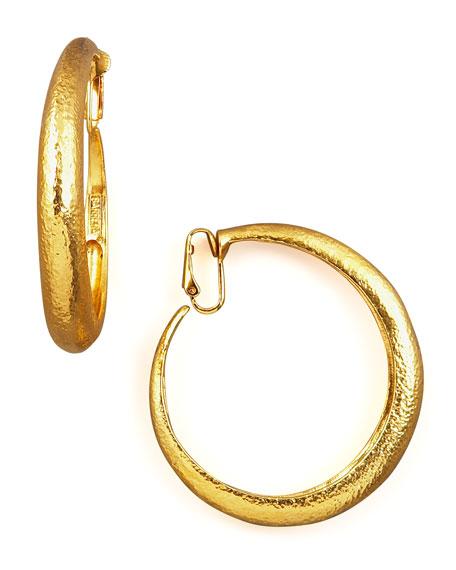 Hammered Golden Clip-On Hoops