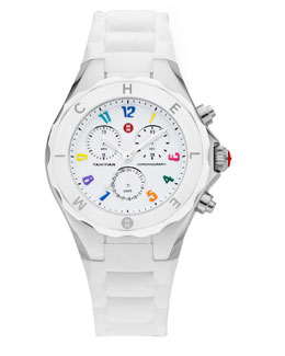MICHELE Tahitian Large Jelly Bean Carousel Chronograph, White