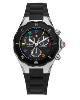 MICHELE Tahitian Large Jelly Bean Carousel Chronograph, Black