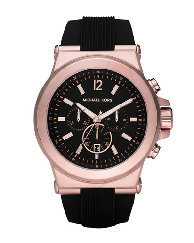 Oversized Dylan Silicone Chronograph Watch, Black