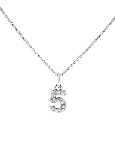 "Diamond Number Necklace, ""5"""