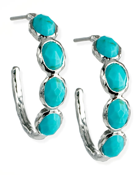 Silver Four-Stone Hoop Earrings in Turquoise