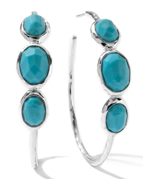 Rock Candy Silver 3-Stone #3 Hoop Earrings in Turquoise