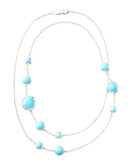 "Turquoise Station Necklace, 36""L"