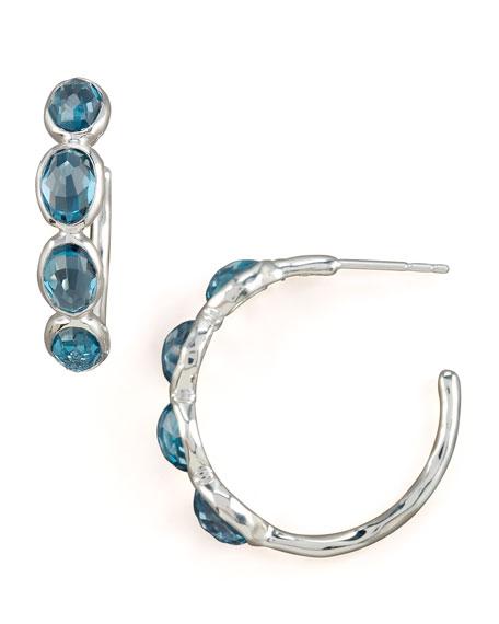Silver Four-Stone Hoop Earrings in London Blue Topaz