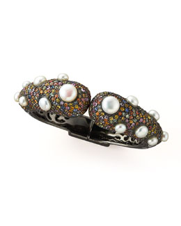 MCL by Matthew Campbell Laurenza Pave Tip Bangle with Pearls