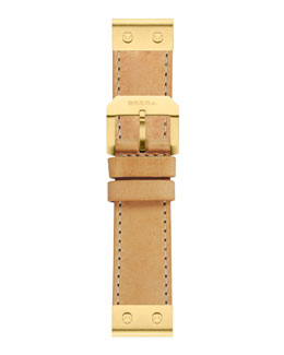 Brera Leather Watch Strap, Yellow Gold