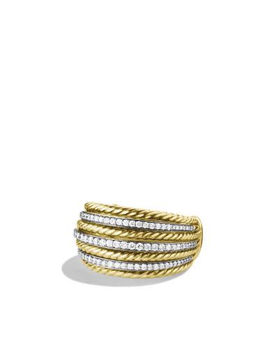 David Yurman Lantana Small Dome Ring with Diamonds in Gold