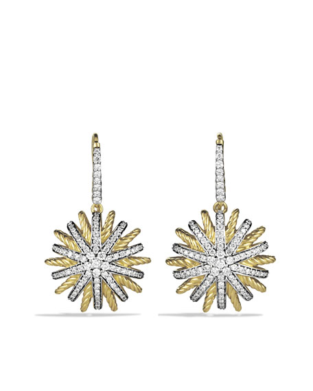 Starburst Drop Earrings with Diamonds in Gold