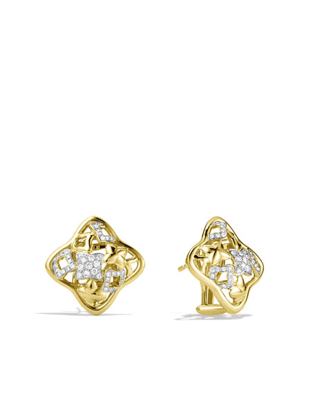 Quatrefoil® Small Earrings with Diamonds in Gold