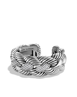 David Yurman Woven Cable Wide Cuff with Diamonds