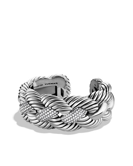 Woven Cable Wide Cuff with Diamonds