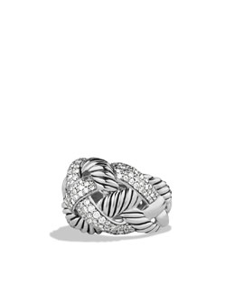 David Yurman Woven Cable Wide Ring with Diamonds