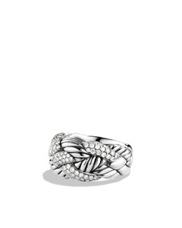 David Yurman Woven Cable Ring with Diamonds