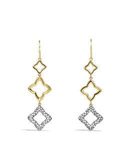 David Yurman Quatréfoil Triple-Drop Earrings with Diamonds in Gold