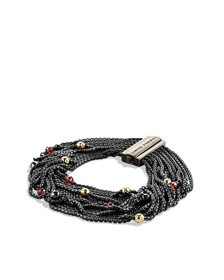 Sixteen-Row Chain Bracelet with Hematine, Garnet, and Gold