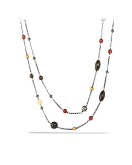 David Yurman Bead Necklace with Black Onyx, Hematine, and Gold
