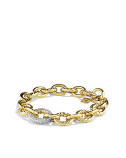 David Yurman Oval Large Link Bracelet with Diamonds in Gold