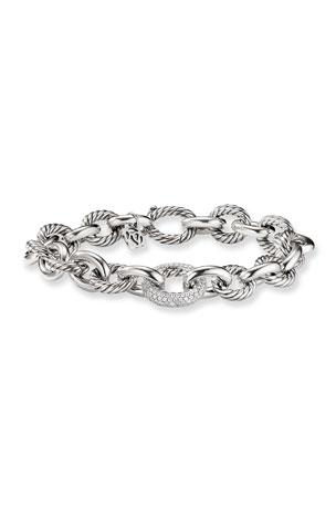 David Yurman Oval Large Link Bracelet with Diamonds