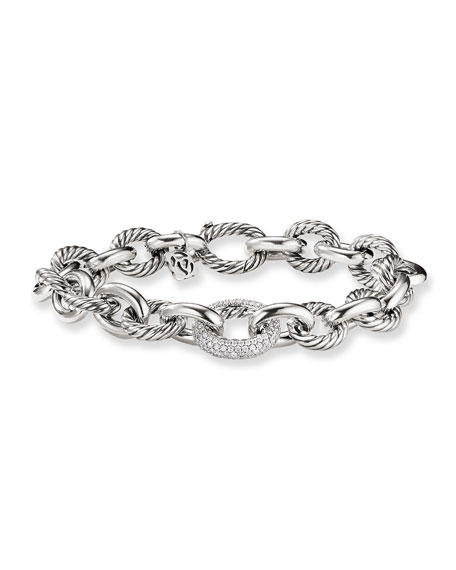 David Yurman Oval Large Link Bracelet with Diamonds