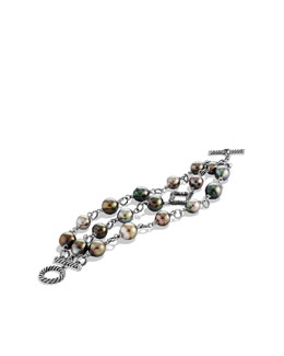 David Yurman Three-Row Bracelet with Pearls and Diamonds