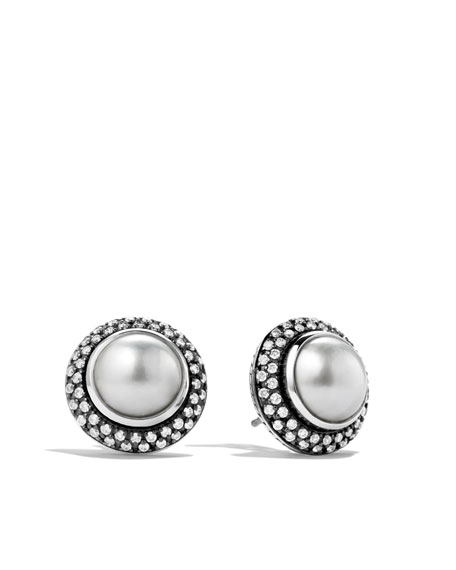 Cerise Earrings with Mabe Pearls and Diamonds