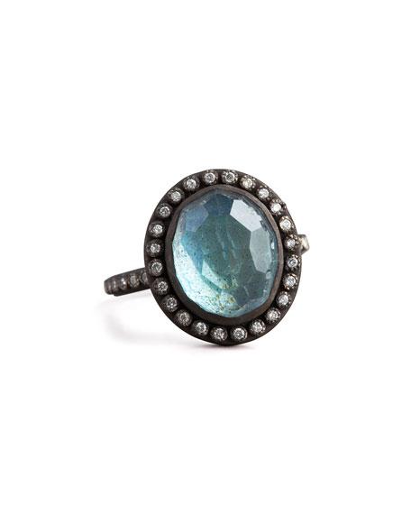 Labradorite & Pave Diamond Ring