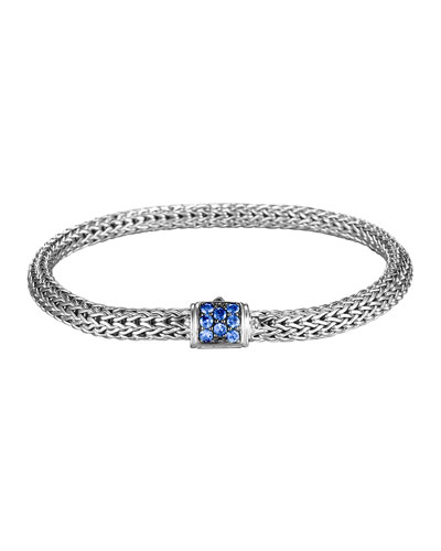 John Hardy Classic Chain 5mm Extra-Small Braided Silver Bracelet, Blue Sapphire