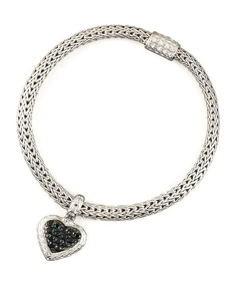 Black Sapphire Heart-Charm Bracelet, Small