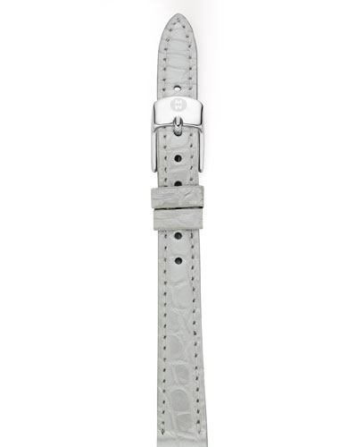 MICHELE 12mm Alligator Strap, Silver