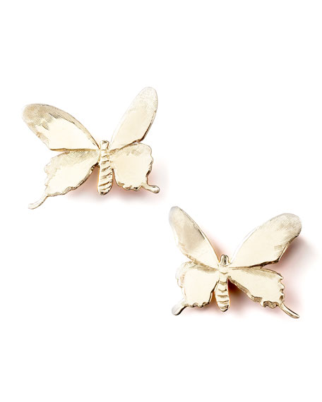 14K Gold Butterfly Stud Earrings
