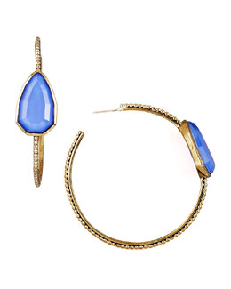 Stephen Dweck Blue Agate Cathedral Hoop Earrings