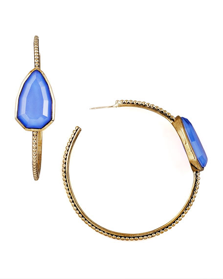 Blue Agate Cathedral Hoop Earrings